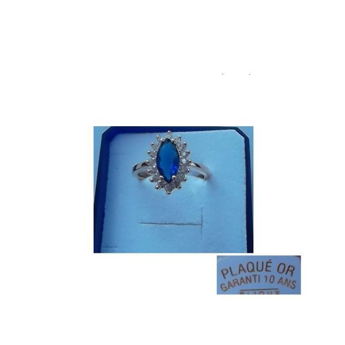Bague ALLIANCE Marquise 1 Zirco Bleu Plaqué OR neuf Taille 56