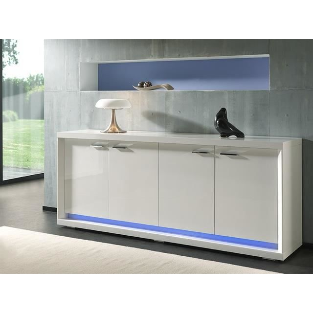 buffet bahut blanc laqu avec clairage led en option. Black Bedroom Furniture Sets. Home Design Ideas