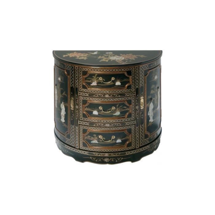 Meuble chinois laque noire demi lune 3 tiroirs 2 portes for Meuble style chinois