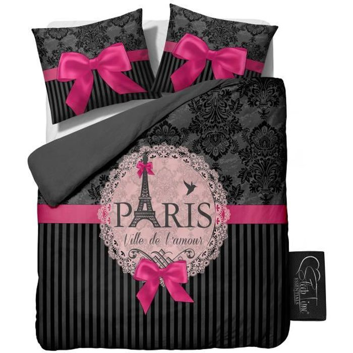 housse de couette i love paris pink 200x200 220 achat vente housse de couette cdiscount. Black Bedroom Furniture Sets. Home Design Ideas