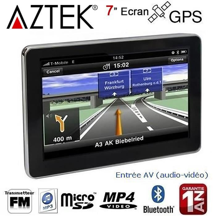 GPS AUTO AZTEK® GPS AUTO 7 Pouces 4GO Bluetooth Transmetteu