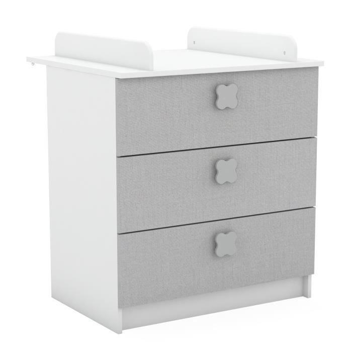 CLOVER Commode à langer 3  tiroirs - Blanc mat / lin tissé