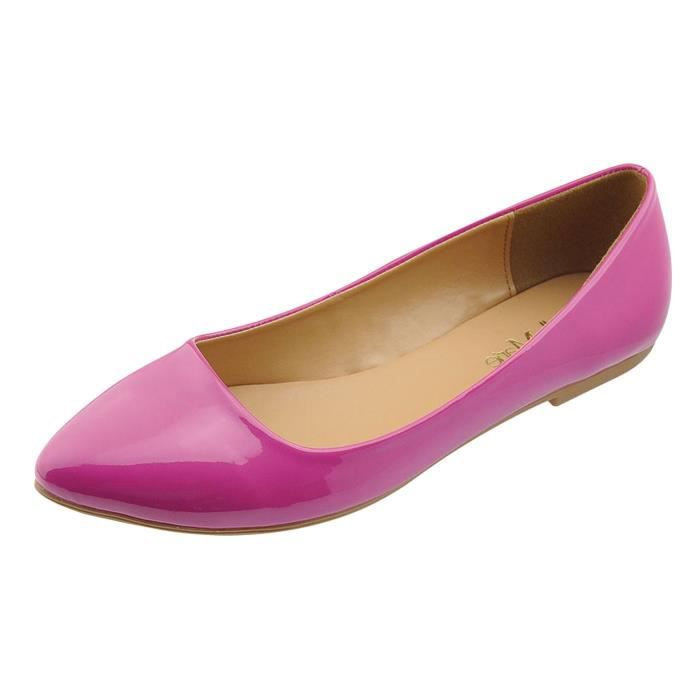 Bella Marie Womens Pointy Toe Slip On Classic Ballet Flat Flats-shoes ARI4Y Taille-39
