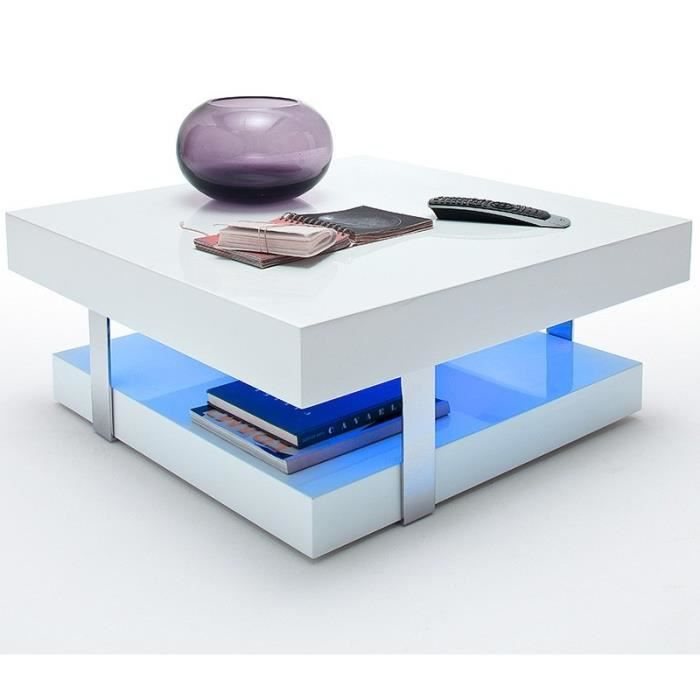 Table basse blanche design led achat vente table for Table basse blanche design