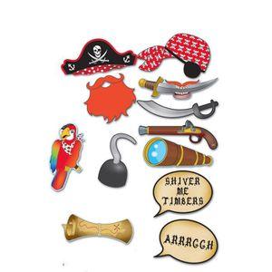 Décors de table Kit photobooth pirate 12 accessoires