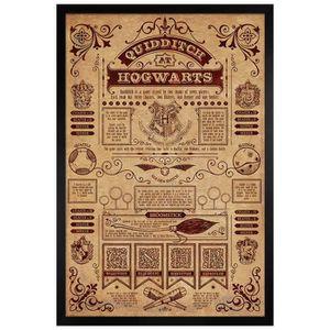 AFFICHE - POSTER Poster 61 x 91,5 cm cadre en bois noir Quidditch A