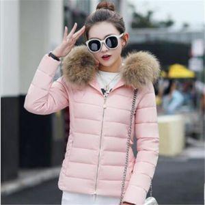 Doudoune femme capuche fourrure rose