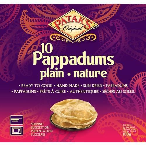10 Pappadums nature prêts à cuire - 100g
