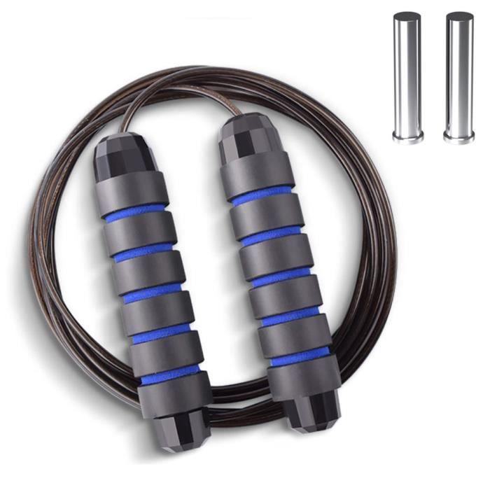 Corde à sauter lestée pour le fitness avec roulements à billes, câble de corde à sauter sans enchevêtrement, poignées antidérapantes