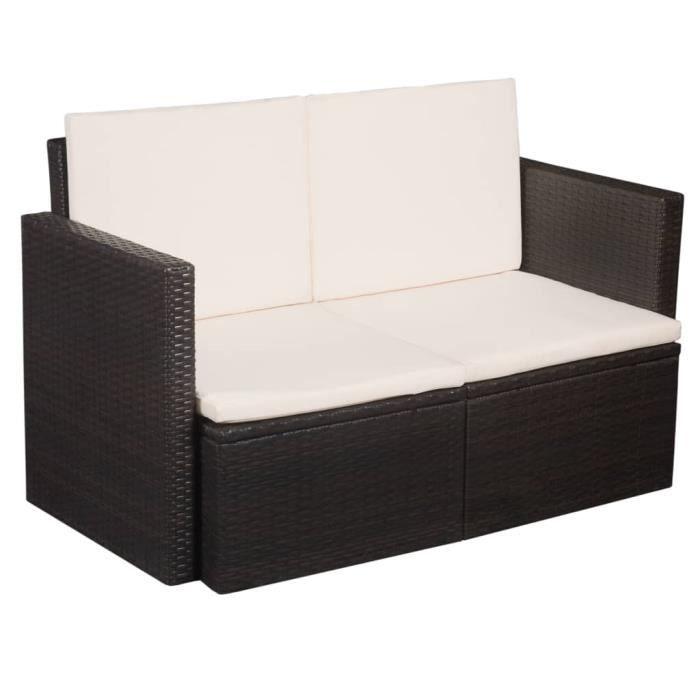 Canapé de jardin à 2 places - Sofa Divan Banquette de jardin Canapé Confortable avec coussins Marron Résine tressée