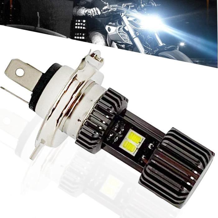 Ampoule H4 HS1 Led moto Phare Avant de Moto ventile AC-DC 10-85V feux croisement et feu route 6500K blanc pour elairage de Moto,Vo