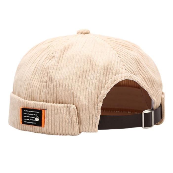 BG -Unisexe lettres étiquette velours bonnet Docker casquette Harajuku Hip Hop rétro roulé manchette sans bride propriétaire marin c