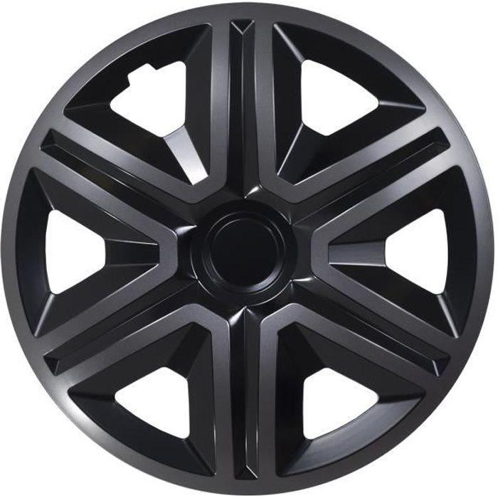 Enjoliveurs de roues ACTION noir-graphite 15 - lot de 4 pièces