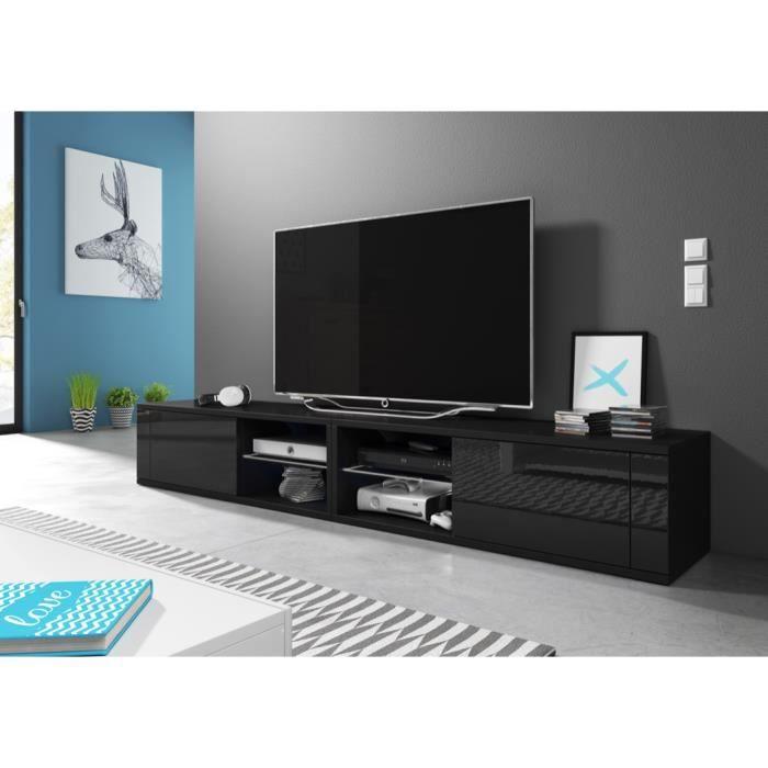 Meuble TV moderne Azalia Double NOIR/ NOIR BRILLANT 200cm