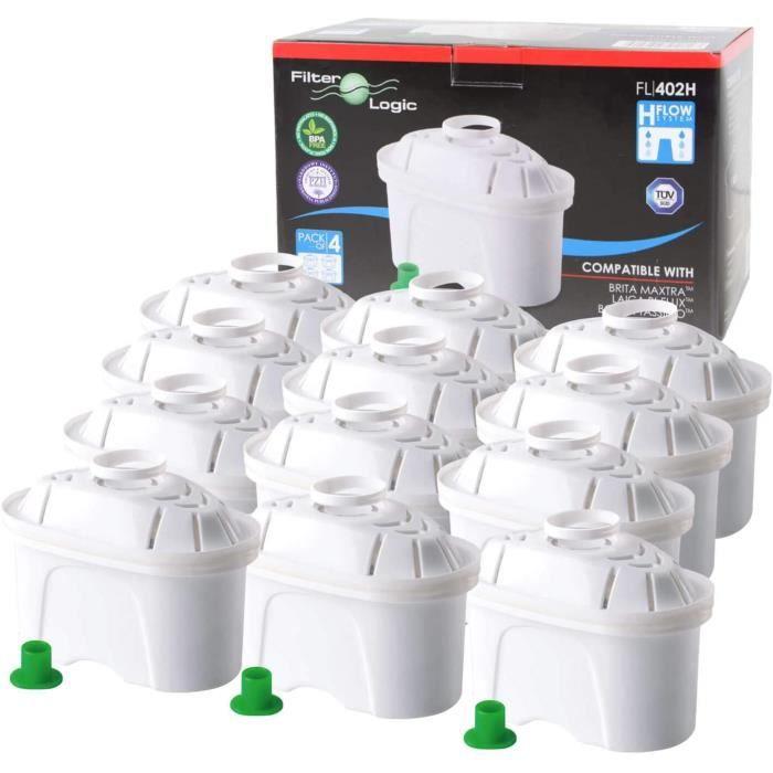 12 x FilterLogic FL402H - Cartouche filtrante compatible BRITA Maxtra pour fill & enjoy Elemaris / Marella / Navelia / Optimax et Bo