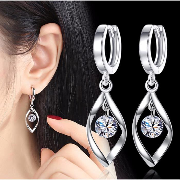 Femme Boucle d'oreille avec Oxyde de Zirconium strass créativité tourner