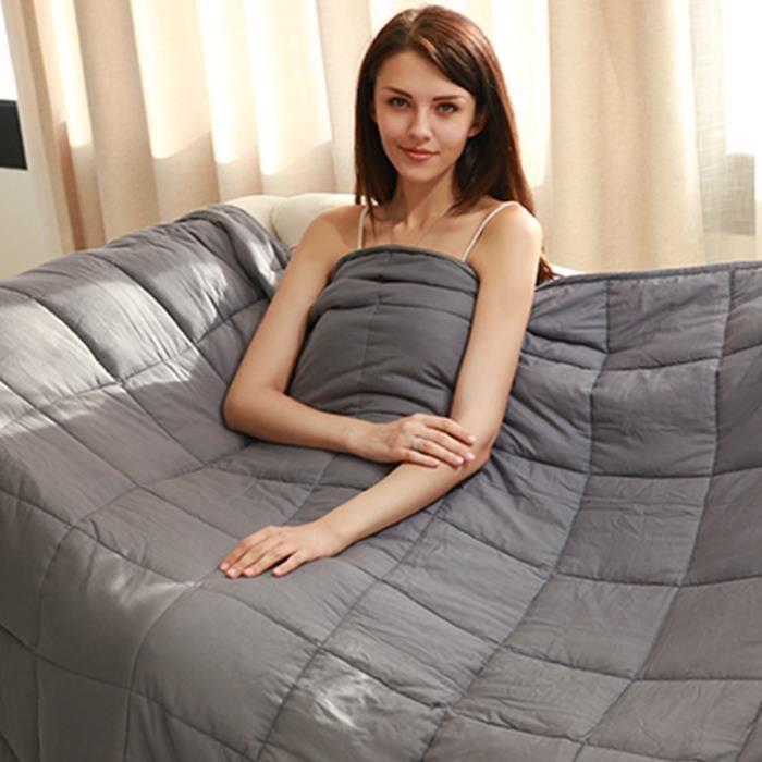 Couverture Pondérée pour Adultes et Enfants du Sommeil Soulager Le Stress Lesté Grise en Tissu de Coton 104 x 152,4 cm