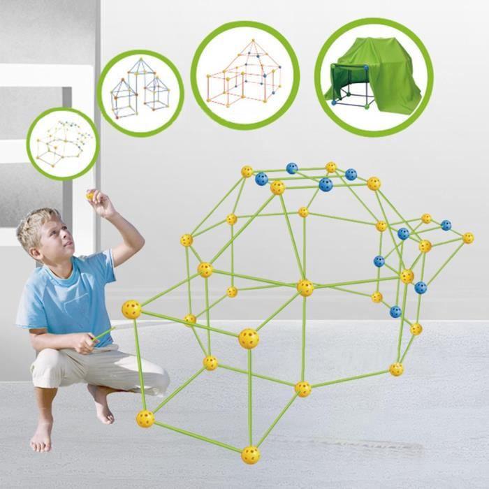 Bricolage Construction Kids Fort Building Kits,Tente pour Enfants, Maison Jouet, Châteaux Tunnels Jouer Jouets Éducatifs pour Enfant