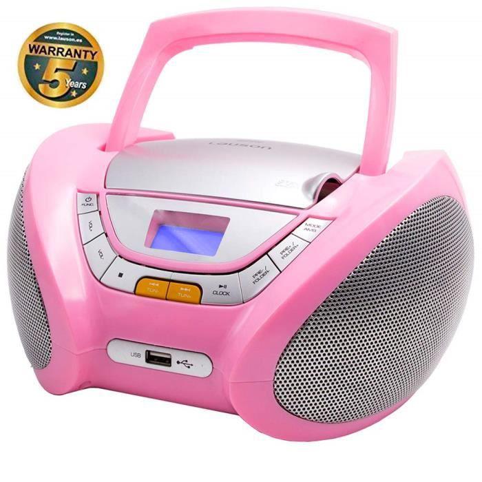 Lauson CP448 Lecteur CD Boombox Radio Portable avec USB, Lecteur MP3 pour Enfant. Prise Casque, Aux-in, Écran LCD (Rose)