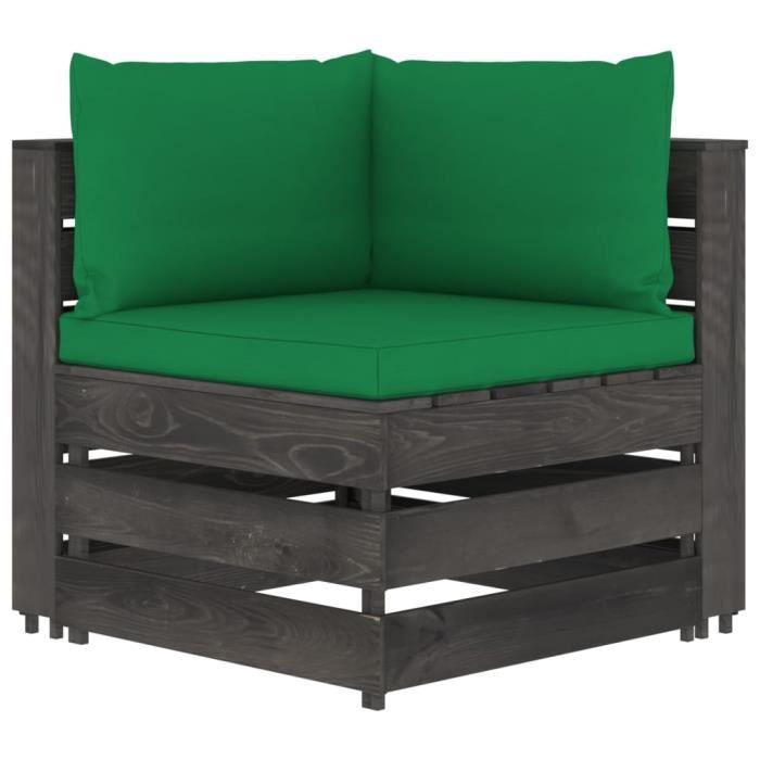 XIJ Canapé d'angle sectionnel avec coussins vert Bois imprégné de gris