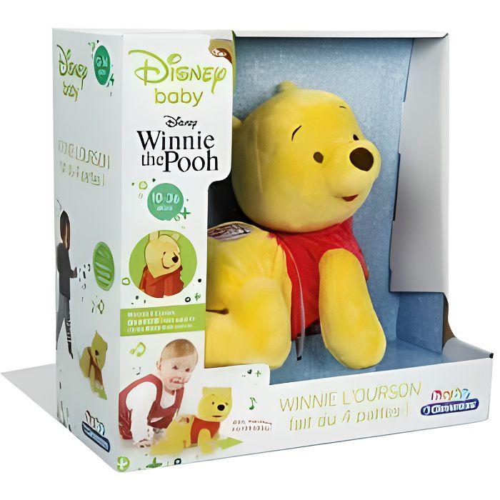 Winnie l'Ourson fait du 4 pattes avec boutons musique et cris des animaux - Peluche interactive Disney - Bebe 10-36 mois