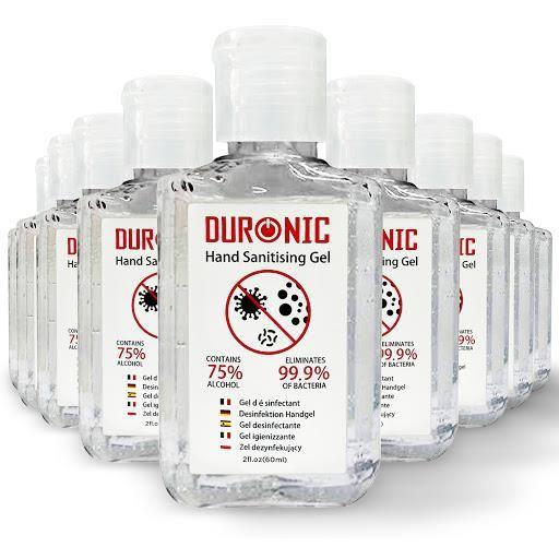 Duronic 10S60 10 x 60 ml Gel désinfectant antibactérien pour les mains de 60 ml - 10 Bouteilles - 75% d'alcool - Désinfecte 99,9%