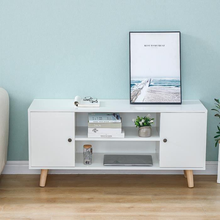 JEOBEST® Meuble TV scandinave décor blanc, pieds en bois eucalyptus, L 116 cm