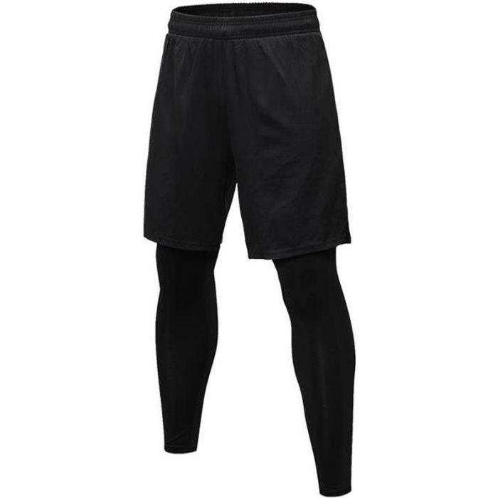 Pantalons de Sport Compression Running Collant Stretch 2 En 1 Shorts Homme Pour Fitness
