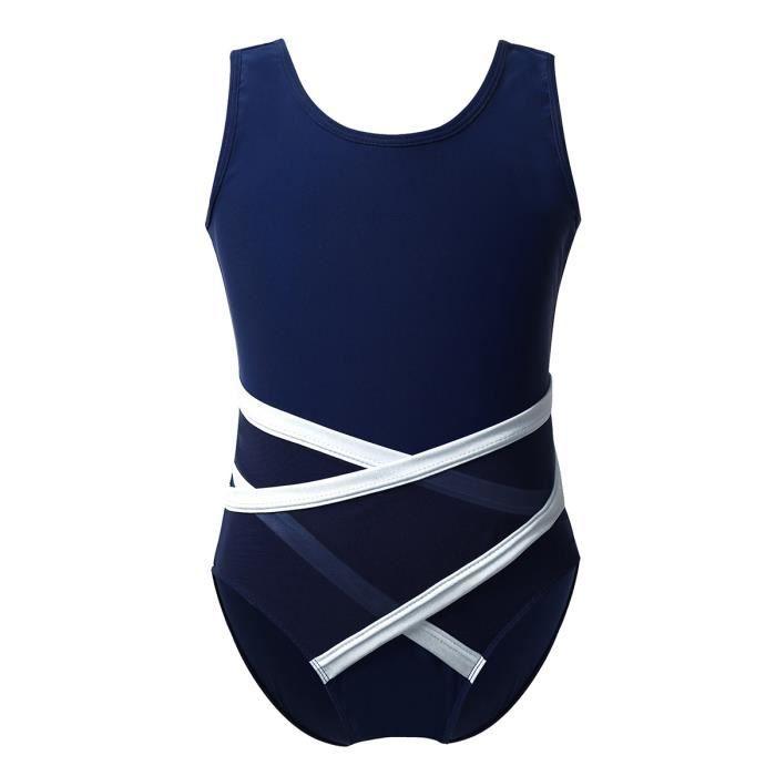 Justaucorps Gymnastique Fille Costume de Danse Classique Dos Nu Body Combinaison Ballet Sport Sans Manches Bodysuit 5-14 Ans