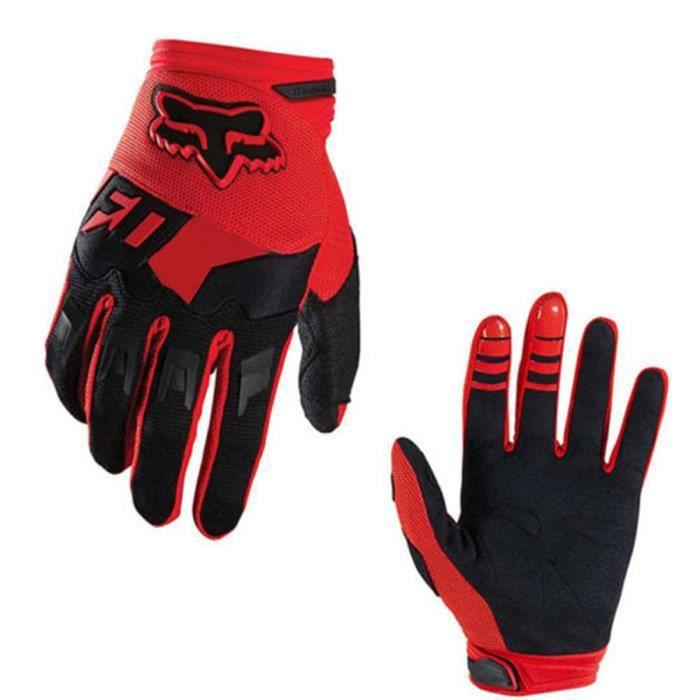 Full-Finger Racing Gants de moto VTT Mitaines de vélo Gants d'équitation hors route Gants de sports de plein air rouge L