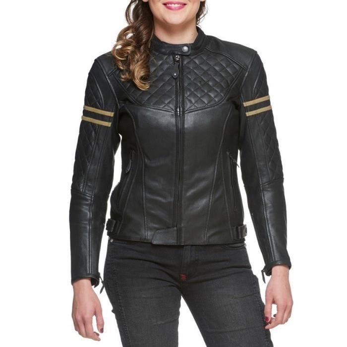 Blouson Moto Femme en cuir ciré WAX Noir