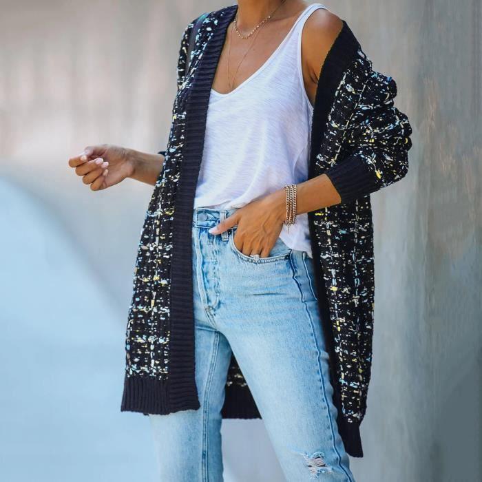 Veste couleur tricot cardigan à manches longues pour femmes