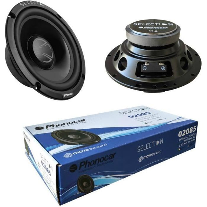 2 PHONOCAR 02085 haut-parleurs woofer 16,50 cm 165 mm 6,5- diamètre 70 watt rms 180 watt max 4 ohms 91 db spl voiture, la paire