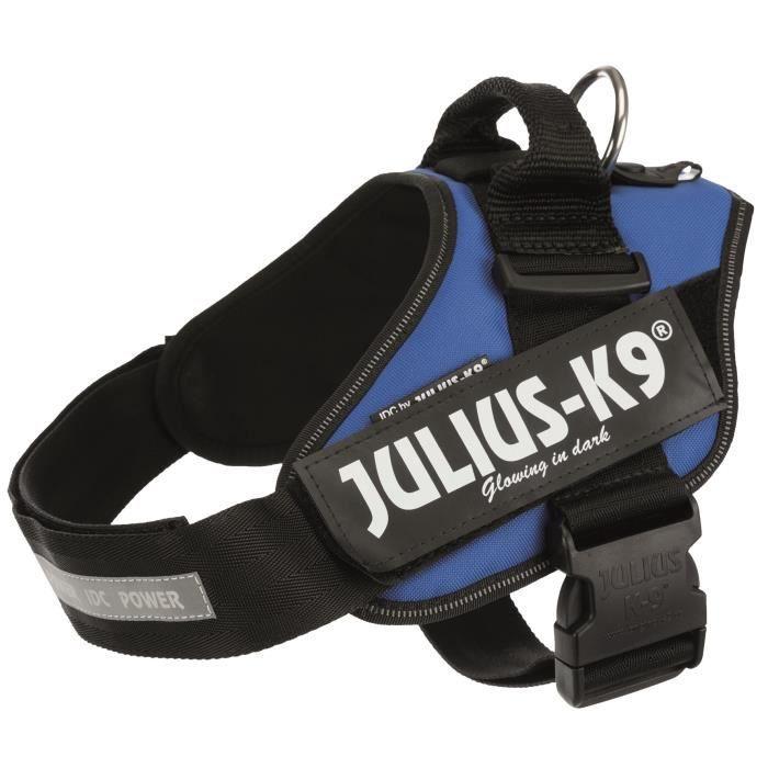 JULIUS K9 Harnais Power IDC 1–L : 63–85 cm - 50 mm - Bleu - Pour chien