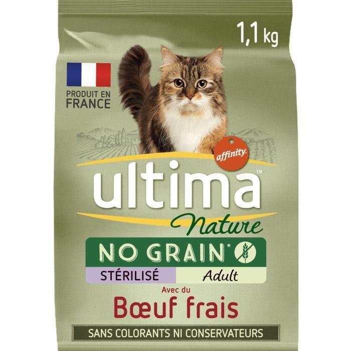 ULTIMA Croquettes au bœuf pour chats stérilisés adulte - 1.1 kg