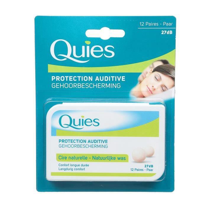 QUIES Boule Protection Auditive - Cire Naturelle - Boîte de 12 paires