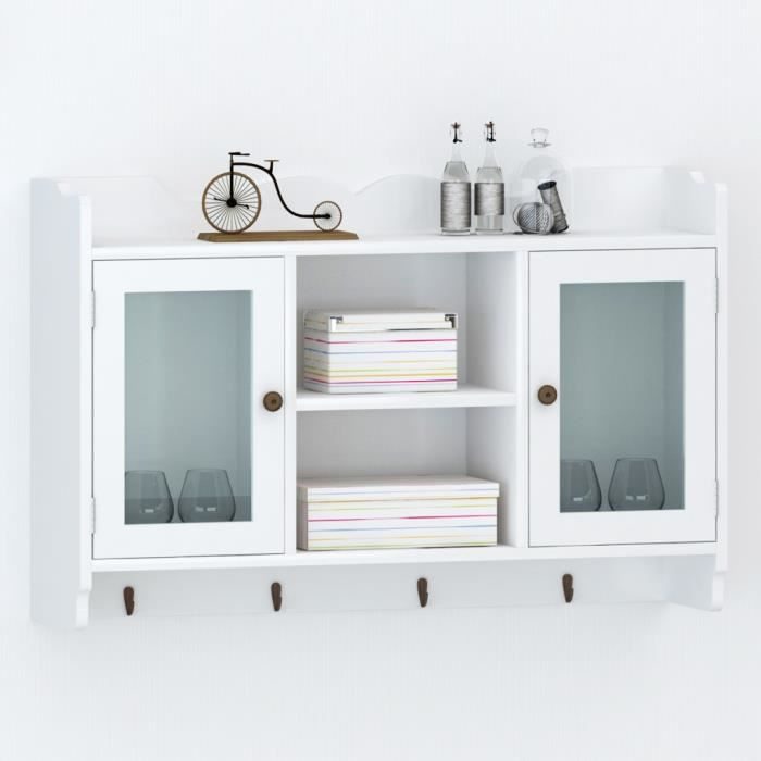 p78 vitrine murale avec etagere de livre dvd verre en. Black Bedroom Furniture Sets. Home Design Ideas