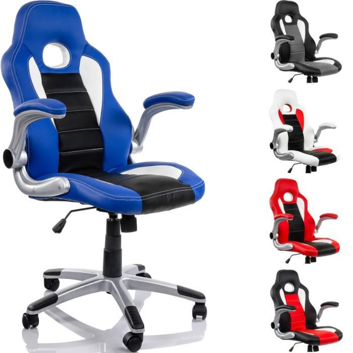 fauteuil de bureau racing bleu noir blanc achat vente chaise de bureau cdiscount. Black Bedroom Furniture Sets. Home Design Ideas
