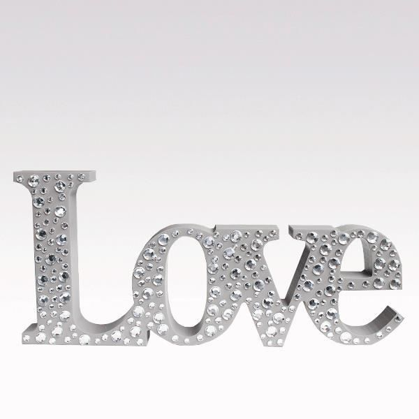 Mot d co love taupe bois strass achat vente plaque de for Decoration murale love