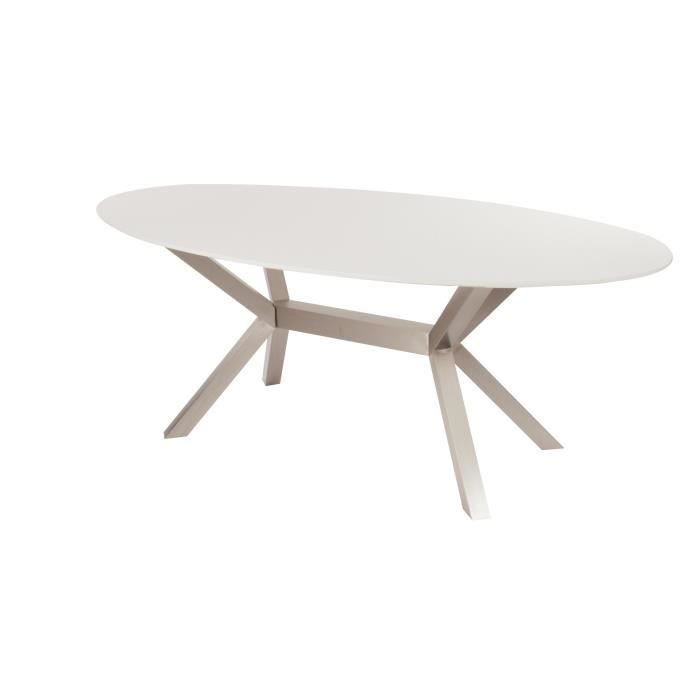 Table de salle manger carola blanc laqu achat vente for Table a manger blanc laque