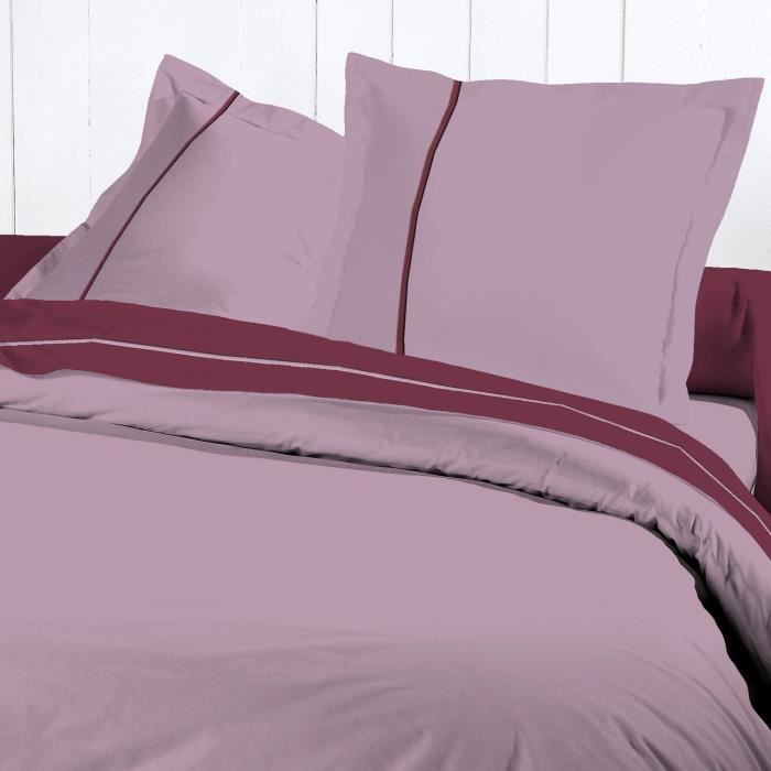 David olivier housse couette 220x240 percale parme achat for Housse de couette percale de coton 220x240