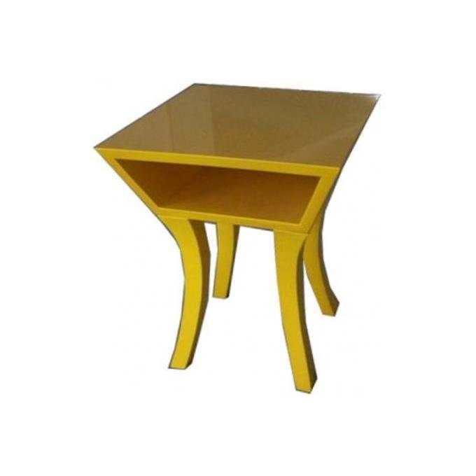 table de chevet kare design jaune achat vente chevet table de chevet kare design cdiscount. Black Bedroom Furniture Sets. Home Design Ideas