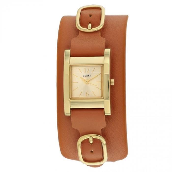 MONTRE GUESS Classic Femme 37mm Bracelet Cuir Marron Quar