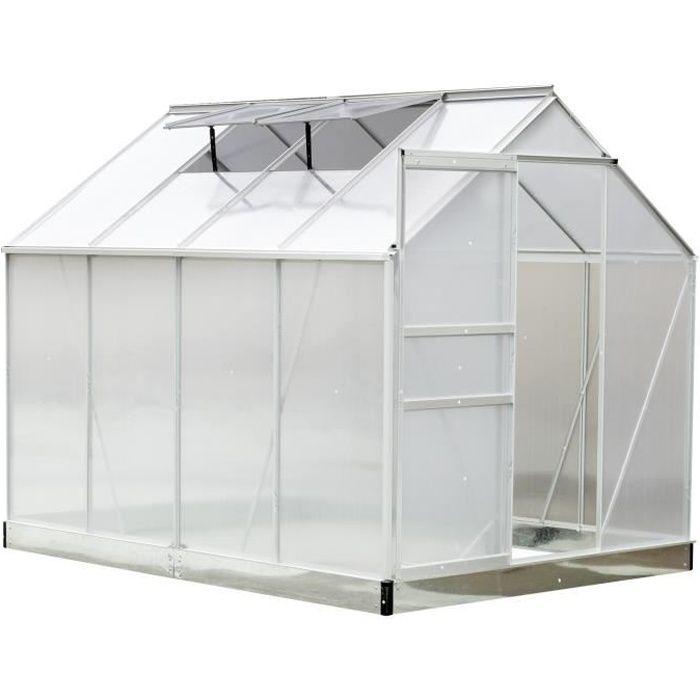 Serre de jardin aluminium polycarbonate 9,74 m³ 2,5L x 1,9l x 2,05H m avec  fondation fenêtres porte coulissante neuf 60