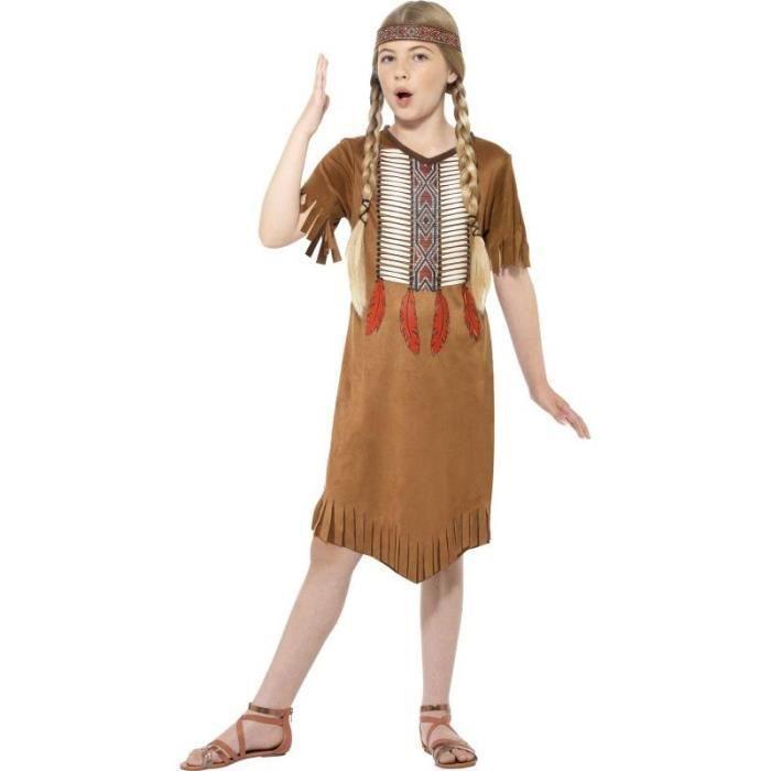 Costume Enfant Fille Amerindienne Marron S Achat Vente Deguisement Panoplie Cdiscount