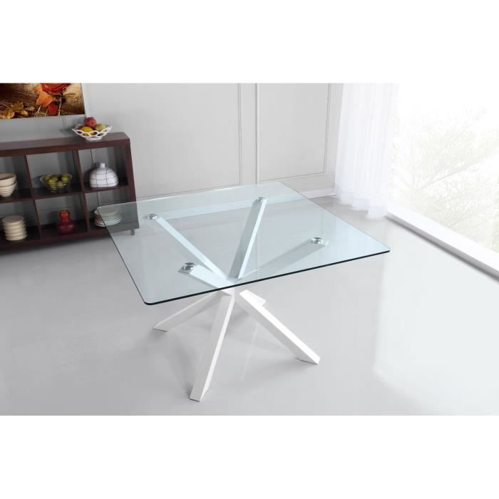 Chris table de s jour carr e 120 x 120 cm blanc achat for Table de sejour carree
