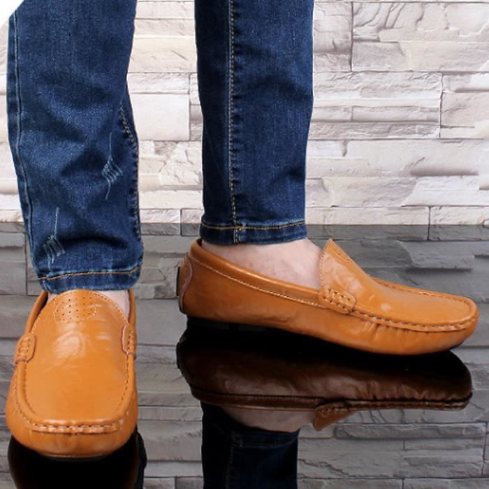 Mocassin Hommes Mode Chaussures Grande Taille Chaussures TYS-XZ73Orange39