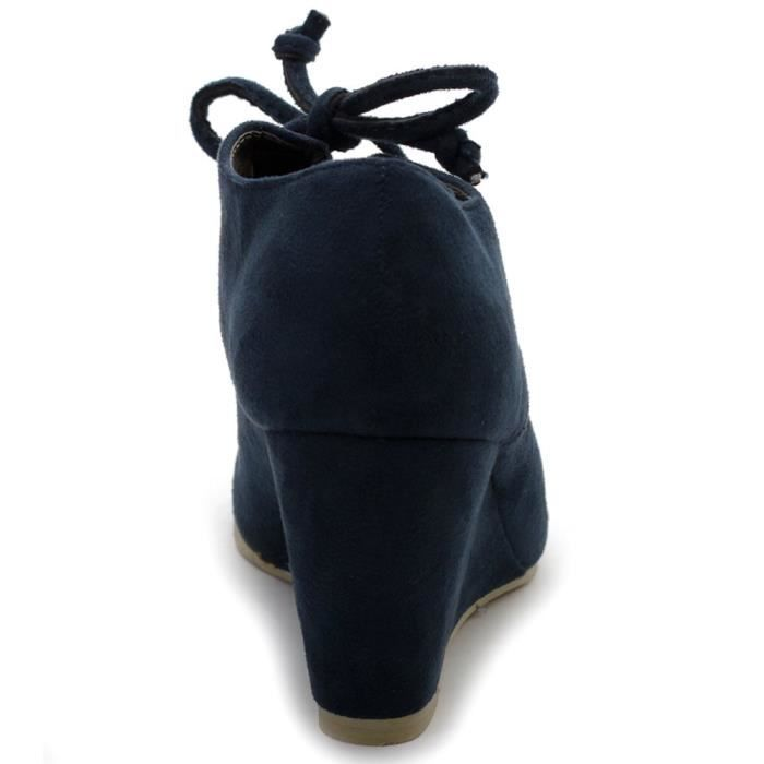 Shoe Faux Suede Wedge Heel Fashion Ankle Lace Up Boot MS6OQ Taille-41