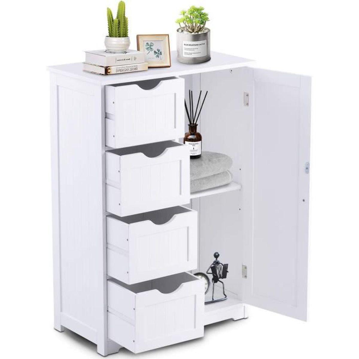 Armoire de Toilette sur Pied Meuble de Rangement avec 4 Tiroirs pour Salle  de Bain Chambre à Coucher 55 x 30 x 81 cm Blanche