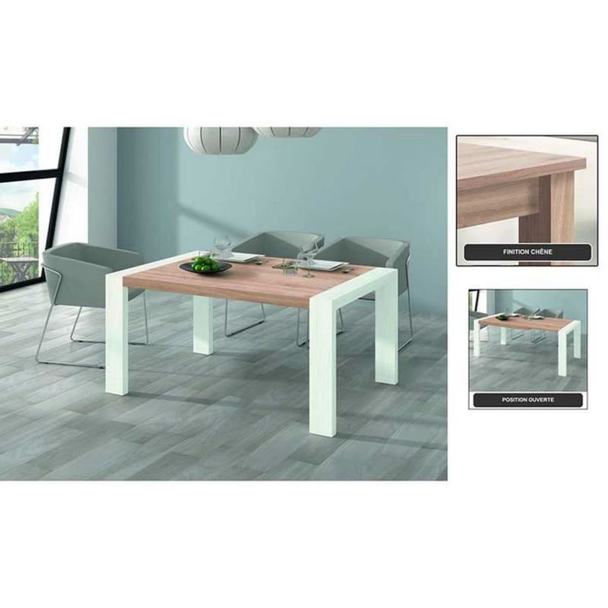 Table a manger rectangulaire extensible 144 204 finition Table a manger rectangulaire extensible